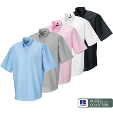 Russell Collection MEN'S OXFORD SHIRT SHORT SLEEVE EASY CARE BUTTON DOWN 14.5-21