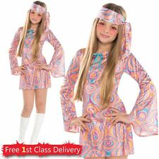 Teen Hippie Fancy Dress Costume Disco Diva Sparkly Dress Age 12-16 Years