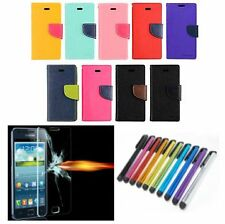 Faux Leather Wallet Flip Cover for Samsung HTC Xiaomi + Tempered Glass + Stylus