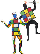 Adults 80's Rubik's Cube Second Skin Mens Stag Party Fancy Dress Costume Ladies