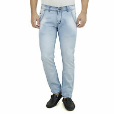 SAVON Mens Slim Fit Light Blue Stretch Denim Jeans For Men. Cotton Jeans