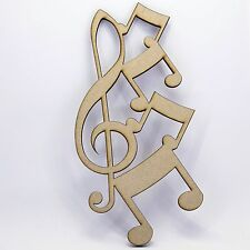Treble Clef and Music Notes MDF craft Shape - Various Sizes. Music Decoration