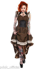Banned Long Black Brown Stripe Victorian Copper Steampunk Corset Party Dress