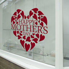 Happy Mother/'s Day Shop Window Sticker Floral Heart Shape Display Vinyl Decal