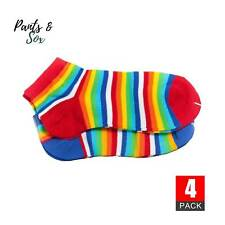 4 Pairs Rainbow Stripe Ladies Womens Ankle Socks Sports Casual Cotton Socks 2-8