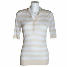 Brax Designer Ladies Striped Short Sleeve Button Up Polo Collared T-Shirt Top