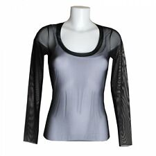 Fuego Woman Black Transparent Net Scoop Neck Long Sleeve Smart Casual Top Blouse