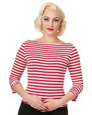 Banned 50s Rockabilly Boat Neck Sailor White Red Blk Stripe Retro Top 3/4 Sleeve