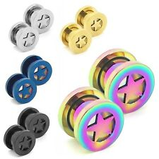 2 Sets o 2 singolo flesh tunnel estensore plug stella 2 3 4 5 6 8 10 mm piercing