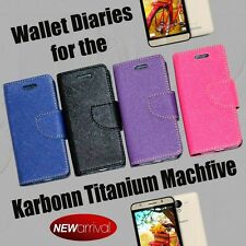 DIARY WALLET STYLE FLIP FLAP COVER CASE For KARBONN TITANIUM MACHFIVE MACH FIVE