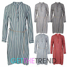 Ladies Womens Long Stripe Shirt Dress Collared Long Sleeve Belted Shirt Dress