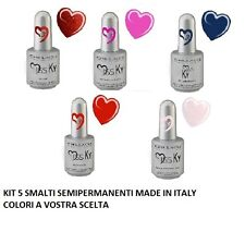 KIT 5 SMALTI SEMIPERMANENTI MADE IN ITALY 17 ML  NO ACIDI RICOSTRUZIONE UNGHIE