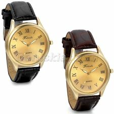 Men's Business Classic Roman Numberals Gold Tone Dial Leather Quartz Wrist Watch
