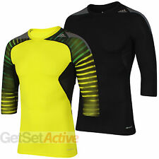 adidas Mens TechFit climacool Compression Top Three Quarter Sleeve T-Shirt