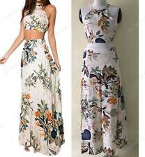 NEW Bohemia Print Casual Vintage Halter Backless Two Pieces Maxi Dress Beach Lon