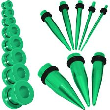 Tunnel Plug Taper Set Dilatatore Estensione Acciaio Verde Piercing 1,6 - 10 mm