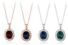Swarovski Elements Oval Crystal Pendant Necklace, Gold Plated, Red, Green, Blue