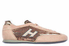 HOGAN SCARPE SNEAKERS DONNA CAMOSCIO NUOVE OLYPIA H FLOCK PAILLETTES ROSA WO 148
