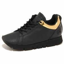 7953N sneaker LEATHER CROWN nero oro scarpe donna shoes women