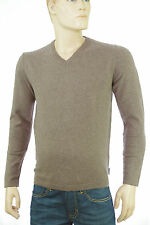 Pull col V marron beige HARRIS WILSON homme ACACIA coton laine taille M