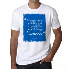 Happiness in intelligent people, Col Rond Homme T-shirt, Blanc