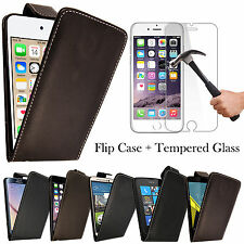 Luxury Magnetic Leather Flip Case Cover For Iphone Samsung+Tempered Gl