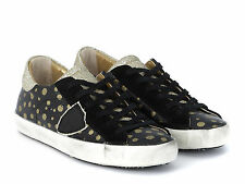 Sneakers Philippe Model donna in pelle nero pois oro