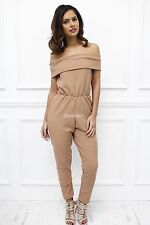 New Womens Ladies Crepe Camel Off Shoulder Party Tapered Glam Playsuit Jumpsuit