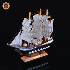 "9"" Wooden Model Ship Model Sailing Tall Boat Handmade Nautical Home Decor"