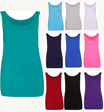 RSVH WHV Womens Plain Sleeveless Stretch Cami Long Vest Scoop Neck Tank Top