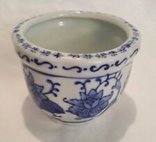 Blue and White Floral Porcelain Ceramic Planter or Vase, Made in China