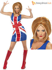 Ladies Ginger Spice Costume Adults Spice Girls Fancy Dress Union Jack UK 8 - 18