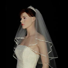 Ivory White 2t Bridal Wedding Veil with Comb, Elbow length, Satin Edge, Diamante