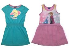 Girls Disney Frozen Elsa Anna Cotton Summer Dress Casual Beach Holiday Size
