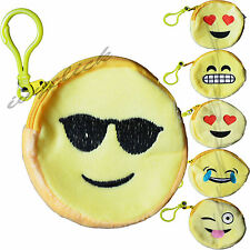 Cute Emoji SmileyFace Coin Purse Wallet Emotion Clip on Keychain Soft Style Gift