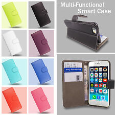 Flip Wallet Leather Cover Case for Apple iPhone Models + Free Screen P