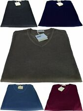 Maglione Uomo Scollo a V Made In Italy Cashmere Seta Sweater Men V Neck