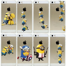 Apple iPhone SE Minion Case Hard Back Clear Cover + Screen Protector