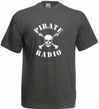 PIRATEN RADIO T-SHIRT SLOGAN BASS DJ 60er jahre CAROLINE LONDON