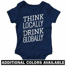 Think Locally Drink Globally One Piece - Baby Infant Creeper Romper NB-24M  Milk