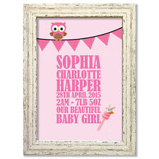 Baby (Girl) Bunting flag Personalised Print (choice of frames available) #11