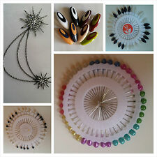 Pearl Decorating Craft Dressmaking Hijab Scarf Pins Wheel Brooches Safety NoSnag