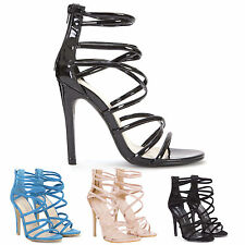 WOMENS LADIES PATENT SUEDE STRAPPY OPEN SHOES PARTY HIGH STILETTOS HEELS SIZE