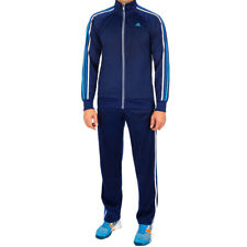 Mens Adidas Ess 3S Pes Full Zip Tracksuit Contrast Stripes Gym Trousers Top Set
