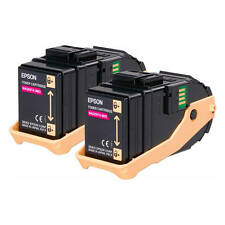 GENUINE EPSON S050607 C13S050607 MAGENTA LASER PRINTER TONER CARTRIDGE TWIN PACK