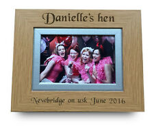 Personalised Engraved Oak Wood Photo Picture Frame Hen Do/ Stag Night Memories