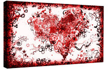 Stunning Red Abstract Heart Canvas Wall Art Picture Print - A0, A1, A2