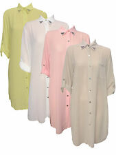 WOMEN'S LONG SHIRT LADIES CHIFFON DIPPED HEM SIDE SPLIT DIAMANTE COLLARED BLOUSE