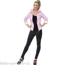 LADIES DELUXE LICENSED PINK LADY GREASE FANCY DRESS JACKET 1960'S 70'S SANDY