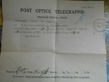 telegram telegraph 1940 KLANG British india Malaya  - t033